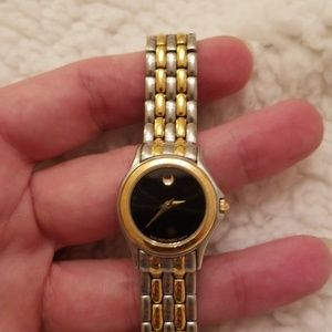 Ladies Movado black dial two tone watch